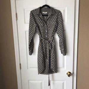 Loft charmed tie waist mix print shirt dress
